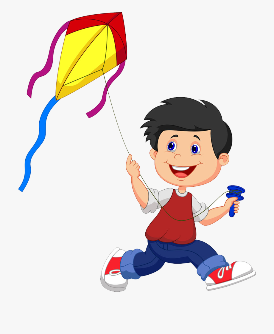 freeuse stock Kite flying clipart. Cartoon illustration fly a.