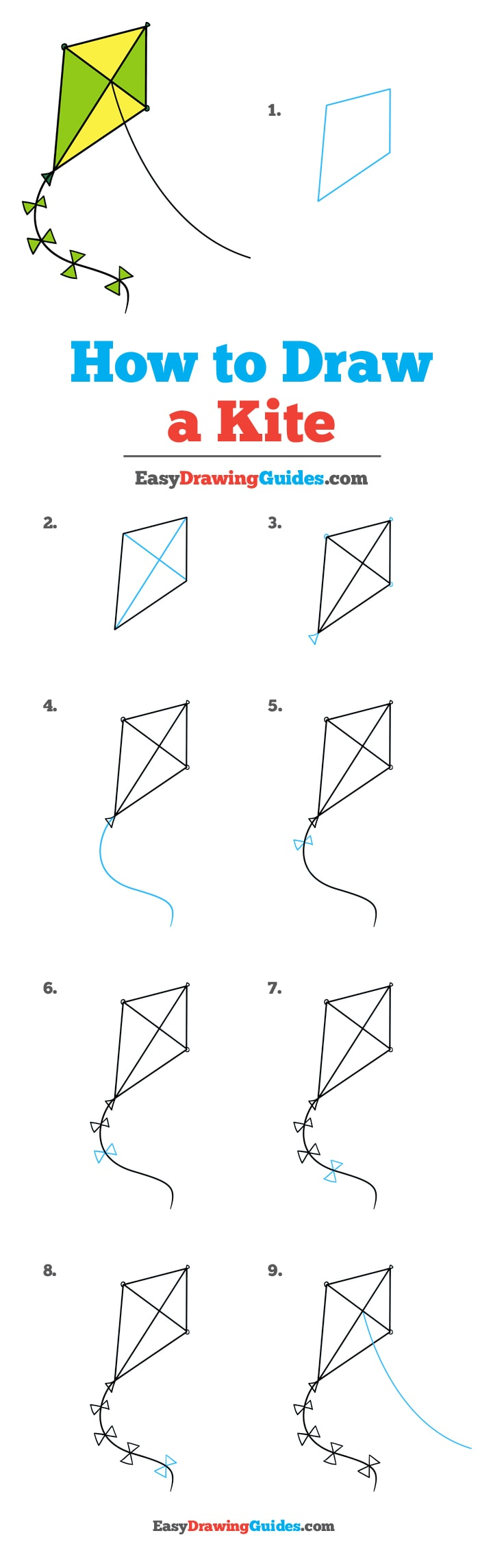 vector library How to draw a. Kites drawing
