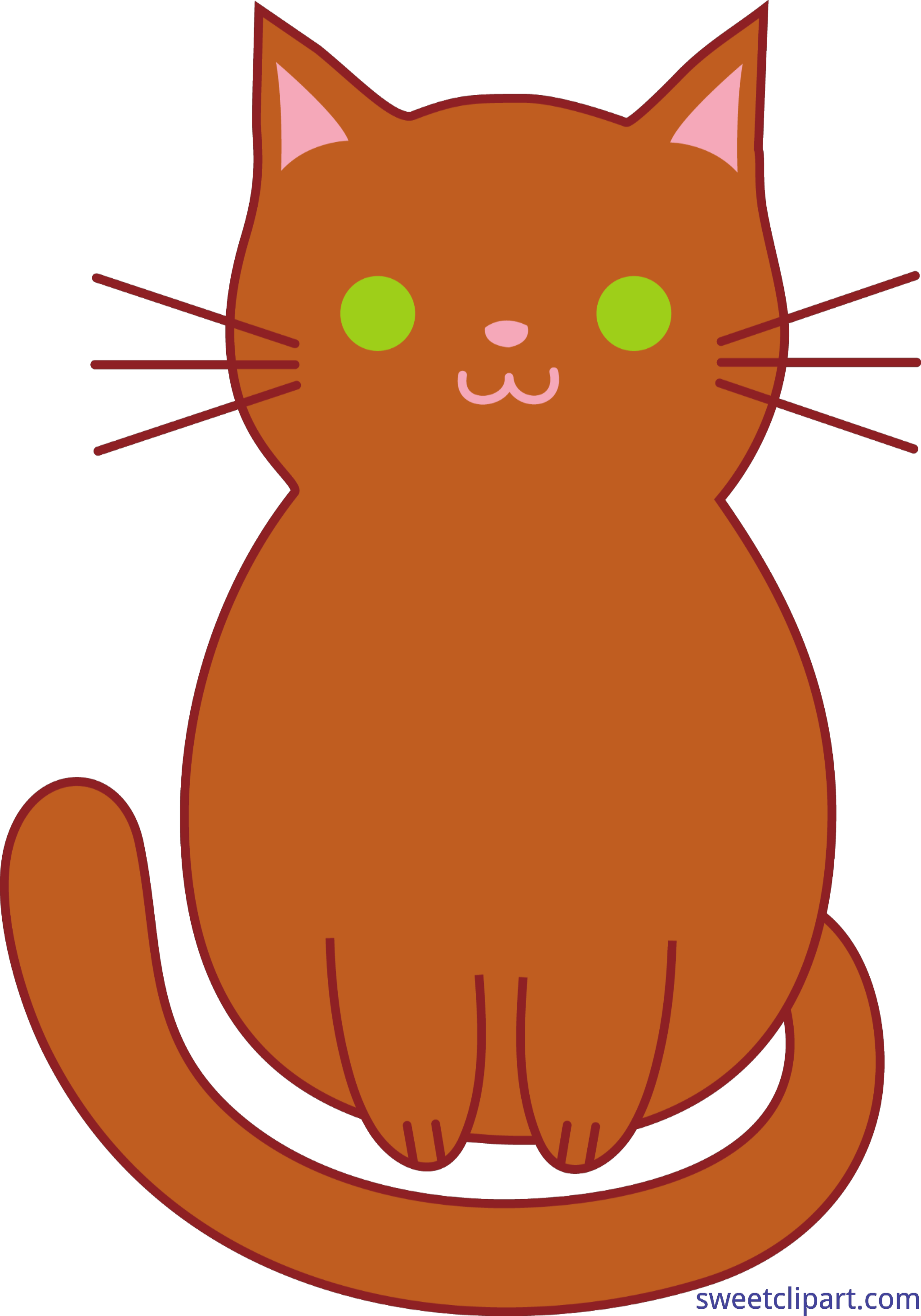 freeuse library Kittens clipart. Cat kitten cute brown.