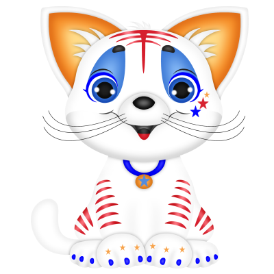 freeuse library J png happy th. Kittens clipart whimsical cat.