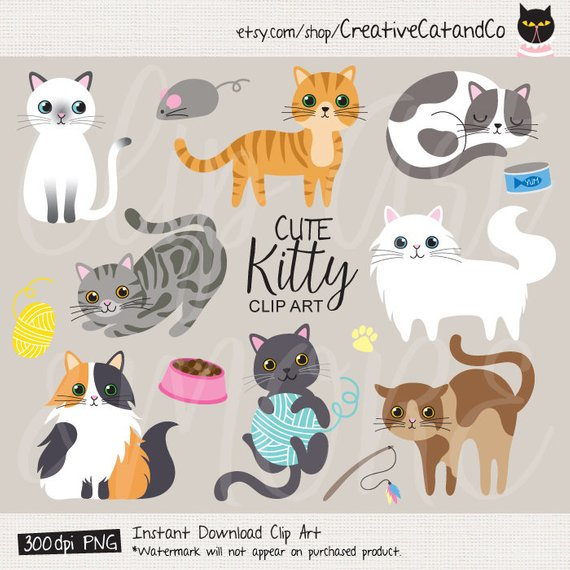 clipart free library Cat clip art cute. Kittens clipart illustration.