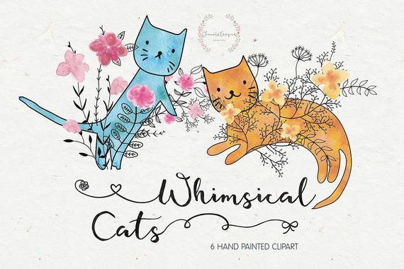 clipart download Cats instant download watercolor. Kittens clipart whimsical cat.