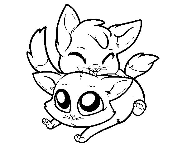 clip art royalty free download Two kittens coloring page