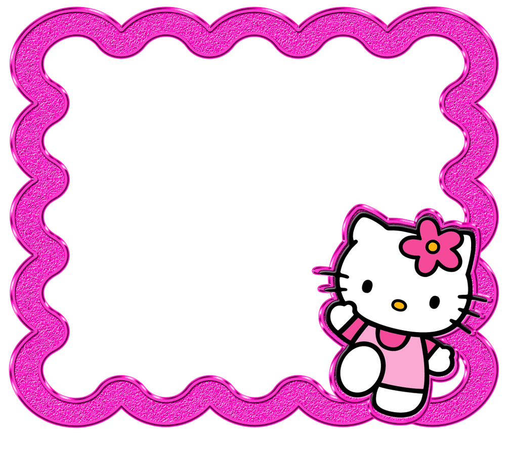 svg black and white Hello borders images and. Kitty clipart border.