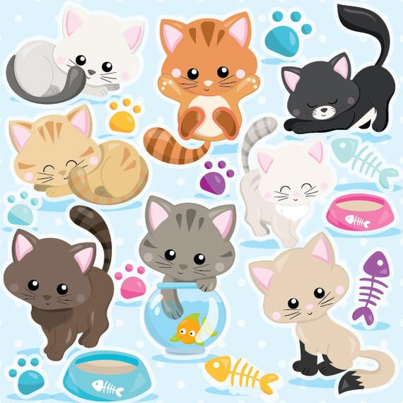 clip art library Kitty clipart digital. Buy get cat commercial