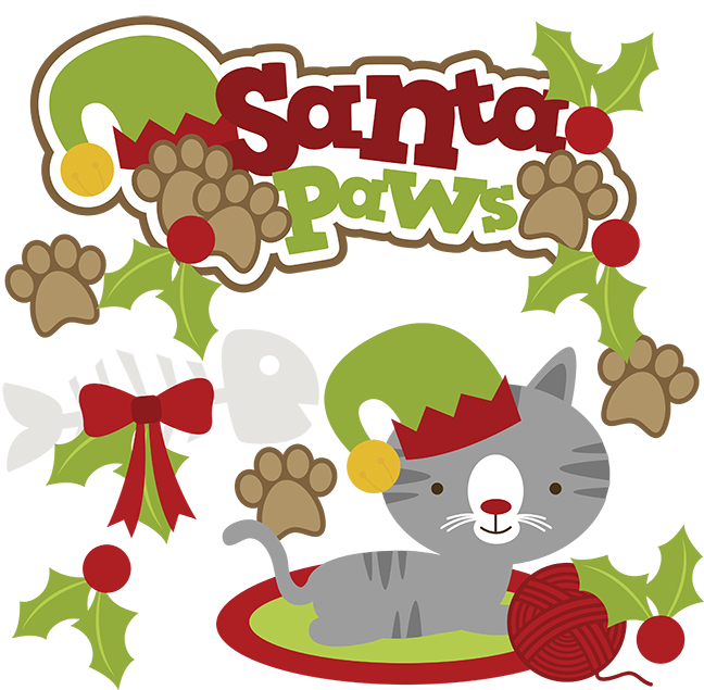 vector library library Kitty clipart digital. Santa paws svg cat