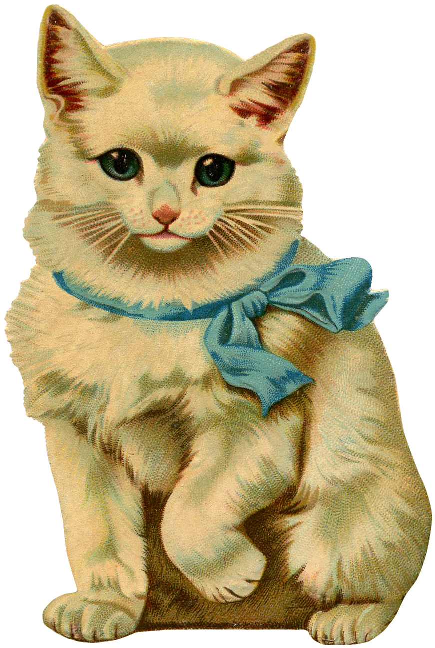 picture library  beautiful vintage kitten. Kittens clipart whimsical cat.