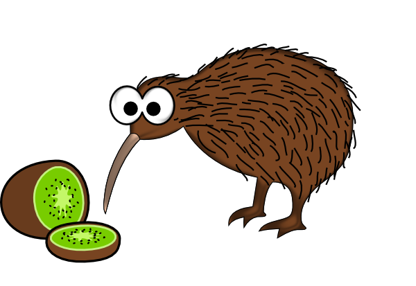 clipart freeuse stock Clipart kiwi. Cartoon bird with fruit