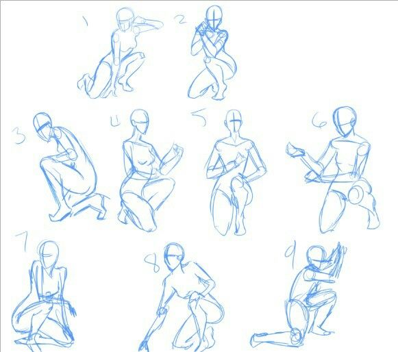 clip art library library Body positions fighting stances. Kneeling drawing.