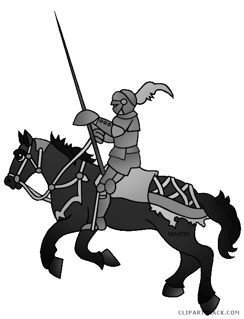 graphic royalty free download Knight On a Horse Animal free black white clipart images