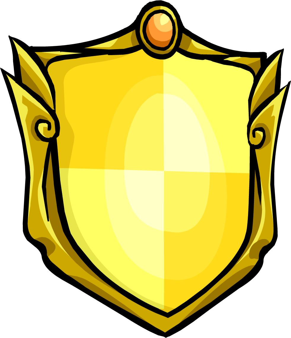 vector stock Knight shield clipart. Golden club penguin rewritten