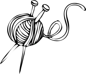 clip art black and white library Needles . Knitting clipart.