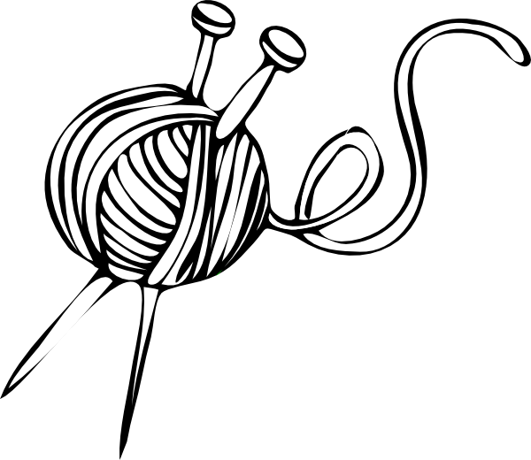 graphic royalty free stock White Yarn Ball With Knitting Needles Clip Art at Clker