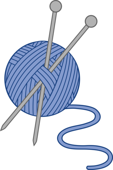 jpg library download Blue yarn and needles. Knitting clipart
