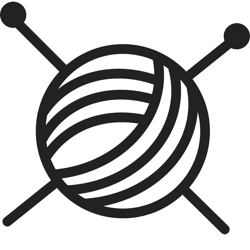 jpg black and white library Yarn rubber stamp sewing. Knitting needles clipart
