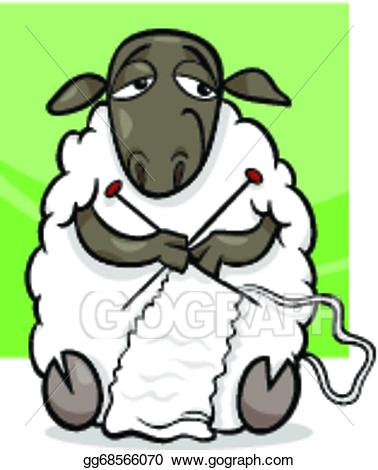 banner transparent stock Knitting sheep clipart. Eps illustration cartoon