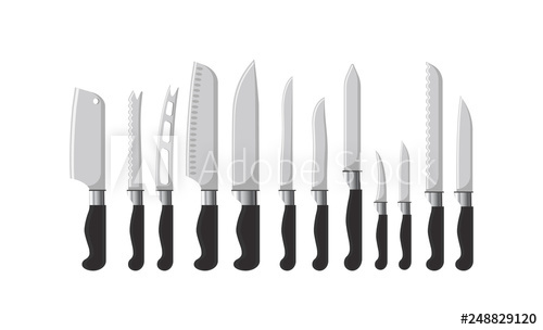 graphic download Kitchen cutlery sharp silverware. Knives vector dining