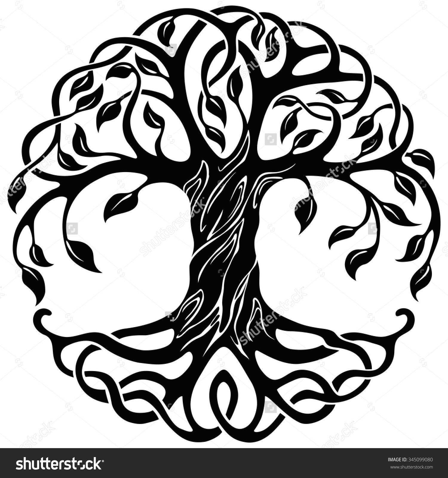 banner freeuse stock With roots celtic tattoos. Tree of life clipart.