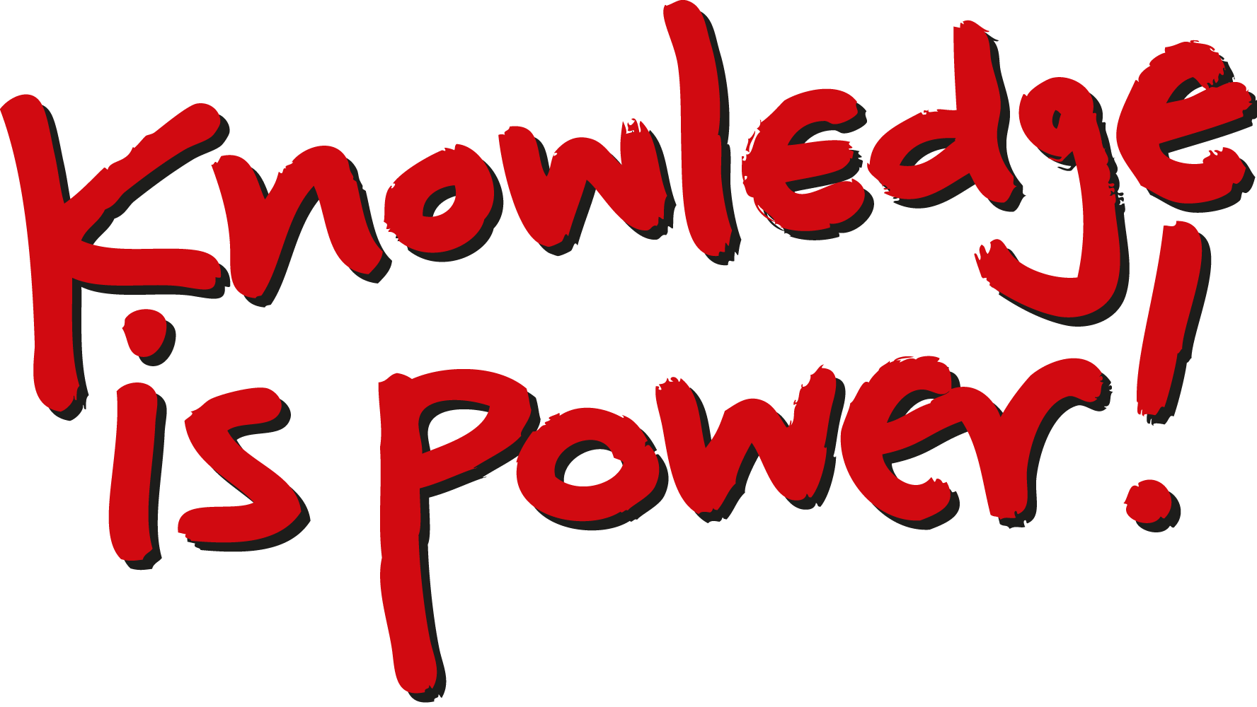 black and white Knowledge is power clipart.