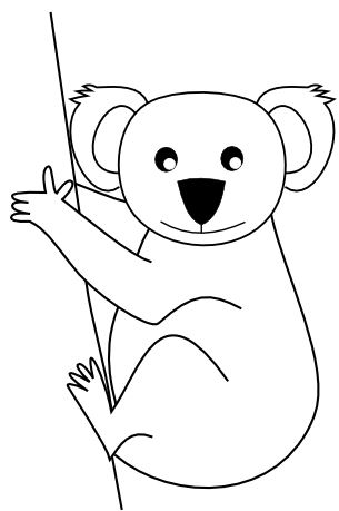 vector library Koala bear clipart black and white. Free download clip art