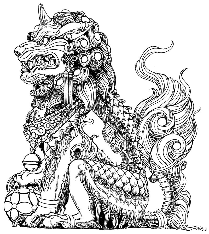 banner library download Male fu dog one. Komainu drawing