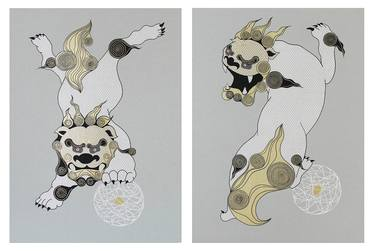 svg freeuse Komainu drawing. Lion dogs by chiho
