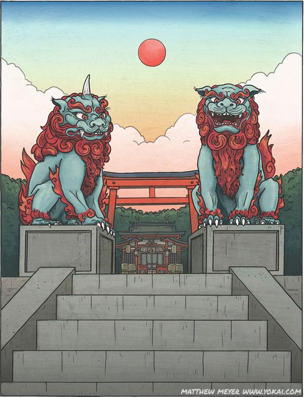 jpg royalty free Koma inu yokai com. Komainu drawing temple