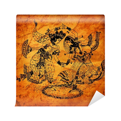 free stock An old Radha Krishna paintings Wall Mural