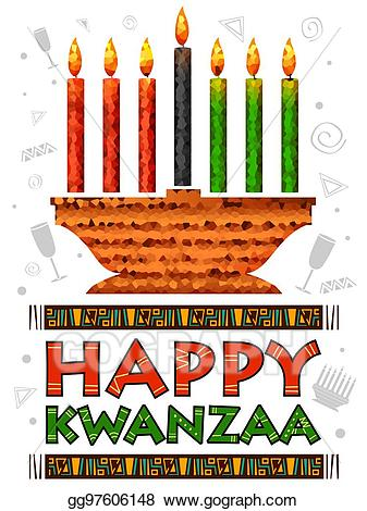 graphic black and white stock Vector greetings for celebration. Kwanzaa clipart happy