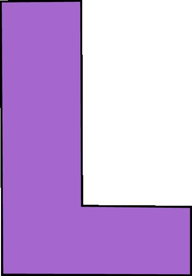 black and white Purple letter clip art. L clipart