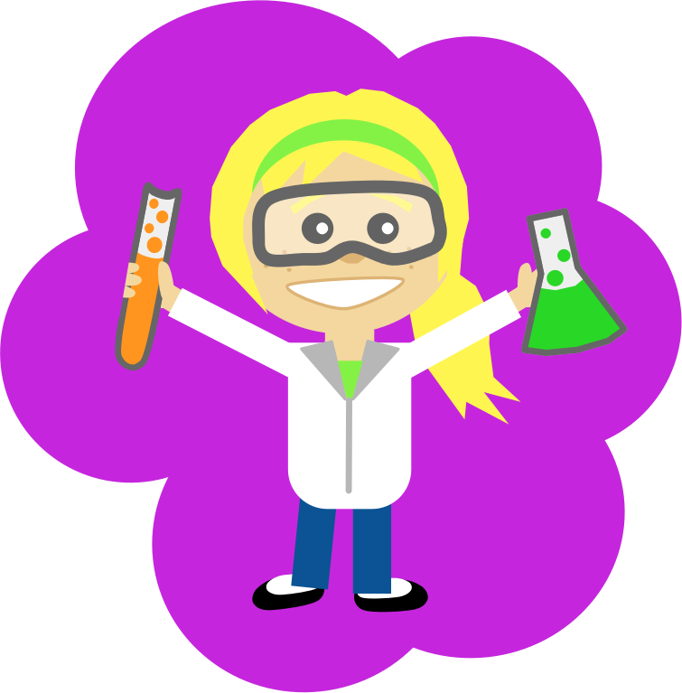 vector royalty free download Science girl with ponytail. Lab safety clipart