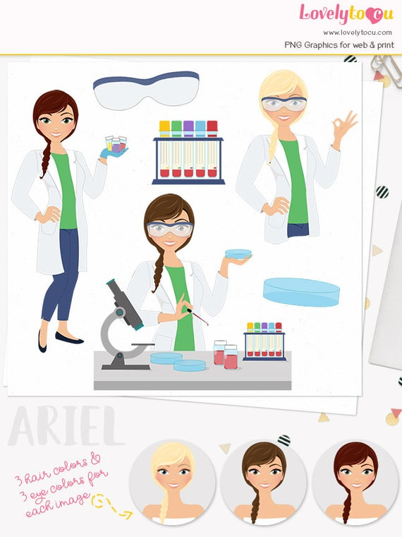 black and white download Woman character medical laboratory. Lab technician clipart