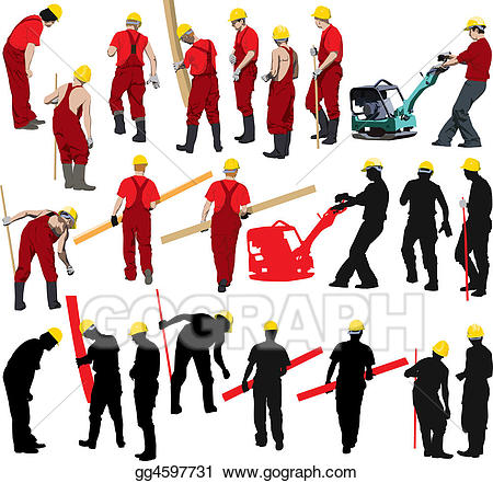 image free library Stock illustration workers . Labor clipart construction crew.