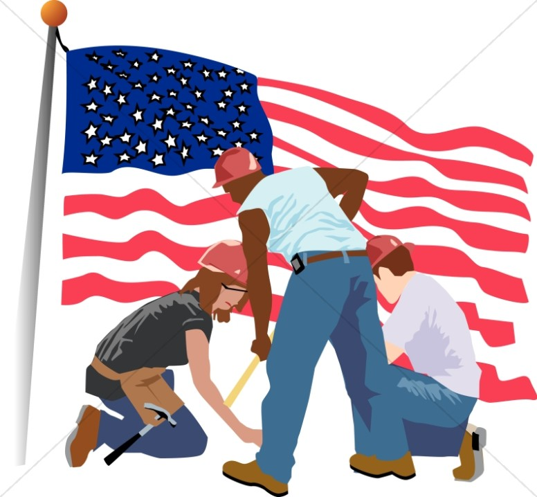 vector freeuse stock Labor clipart construction crew. Patriotic and cleanup workers.