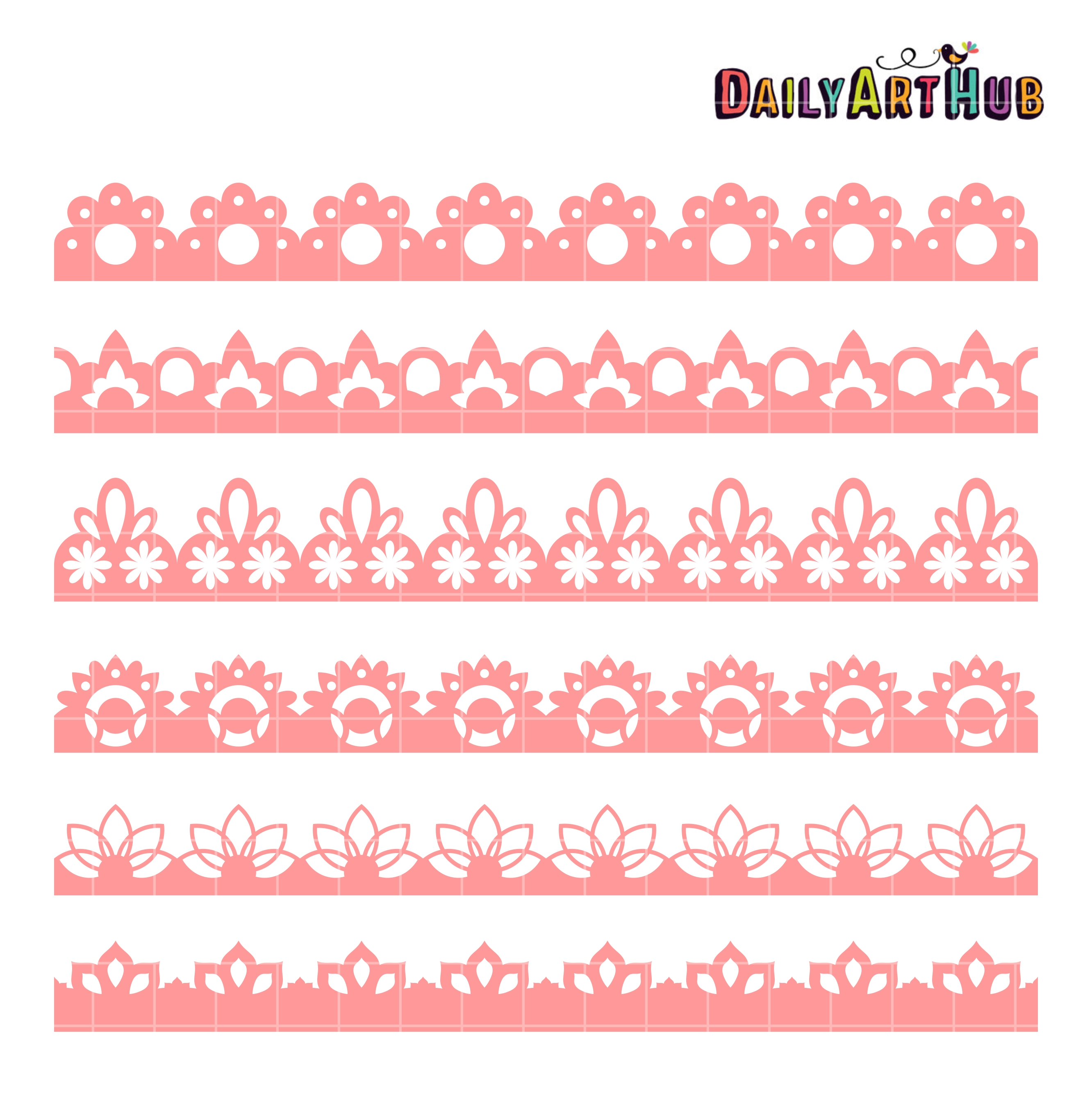 jpg free library Lace border clipart. Borders clip art set
