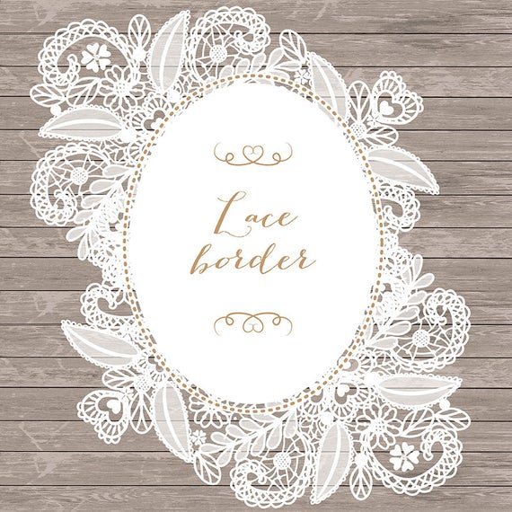 banner black and white Rustic wedding invitation frame. Lace border clipart