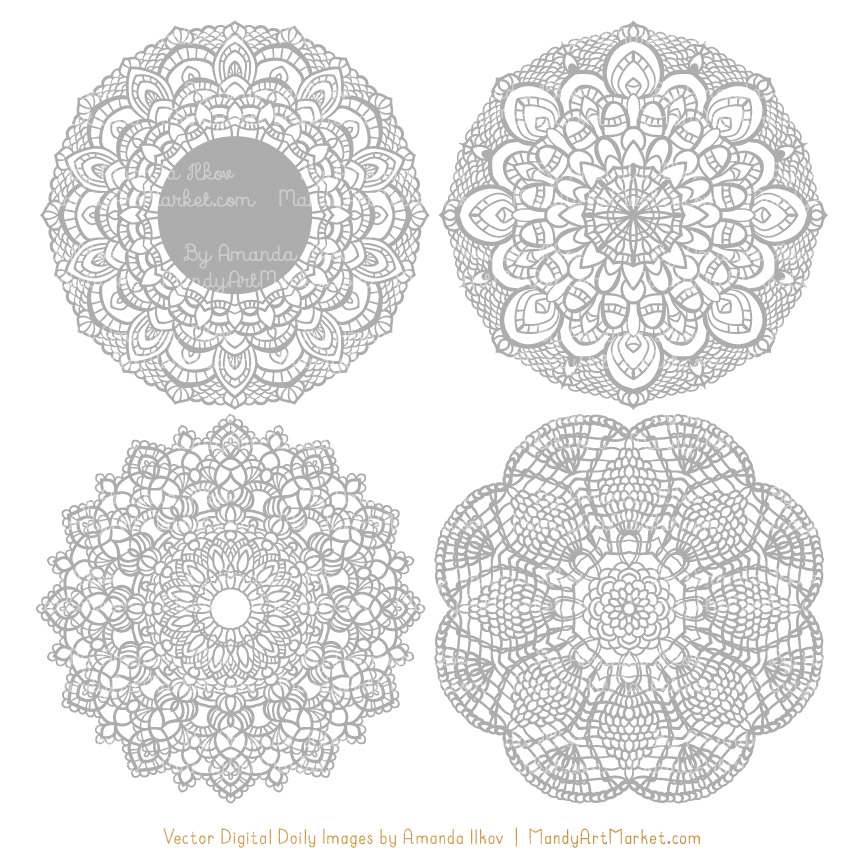 clip transparent library Grey round vectors . Lace doily clipart