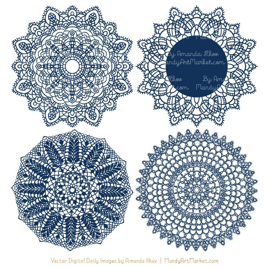 image transparent Lace doily clipart. Navy round vectors .