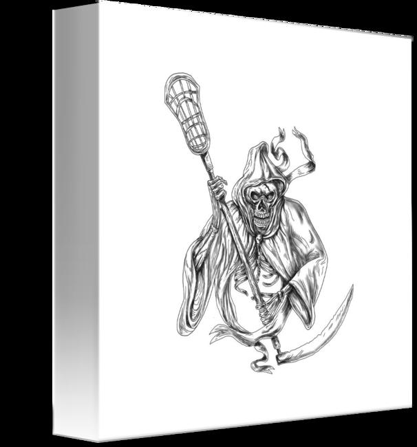 banner free library Grim Reaper Lacrosse Defense Pole Tattoo by Aloysius Patrimonio