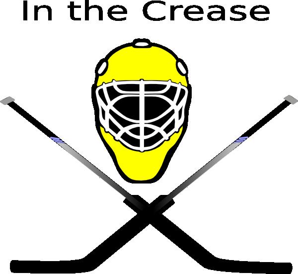 image black and white Goalie Mask Crossed Sticks Clip Art at Clker