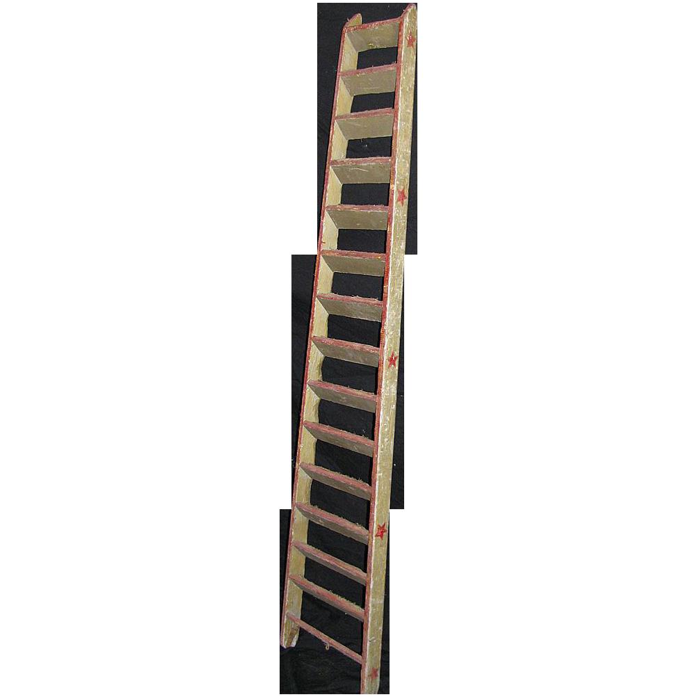 vector stock Antique Circus Carnival Bird or Dog Trick Ladder Folk Art