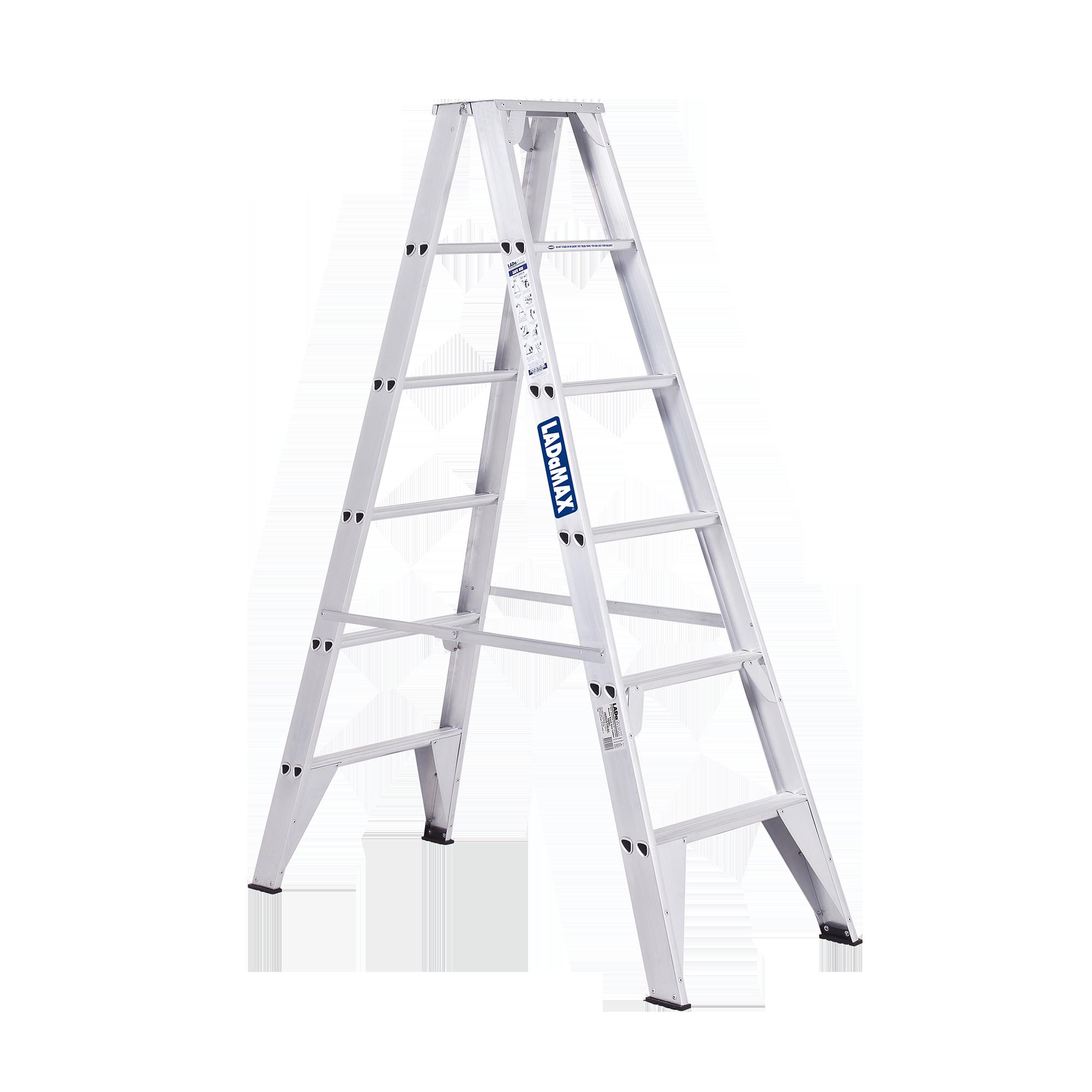graphic free Ladder transparent double sided. Aluminium step ladamax australia