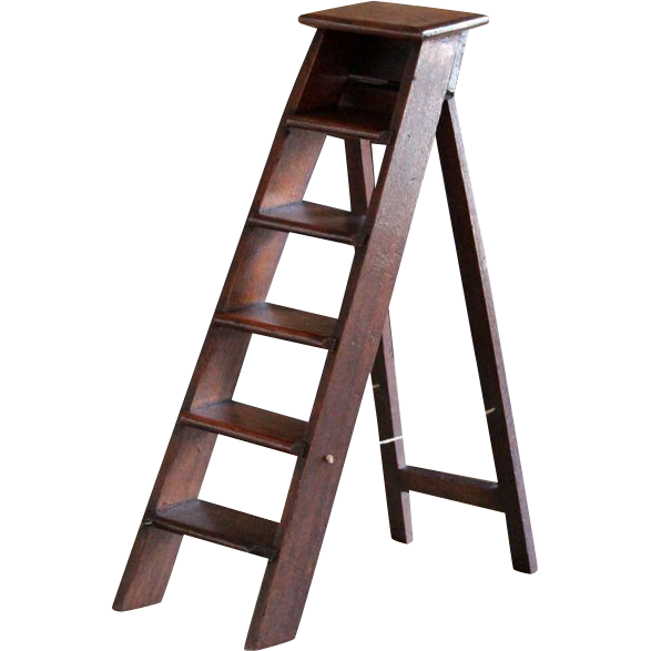 vector royalty free library Ladder transparent mahogany. Antique english miniature step
