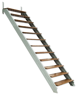 jpg black and white stock Building Stairs to Attic