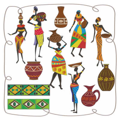 vector transparent stock African Ladies Machine Embroidery Designs