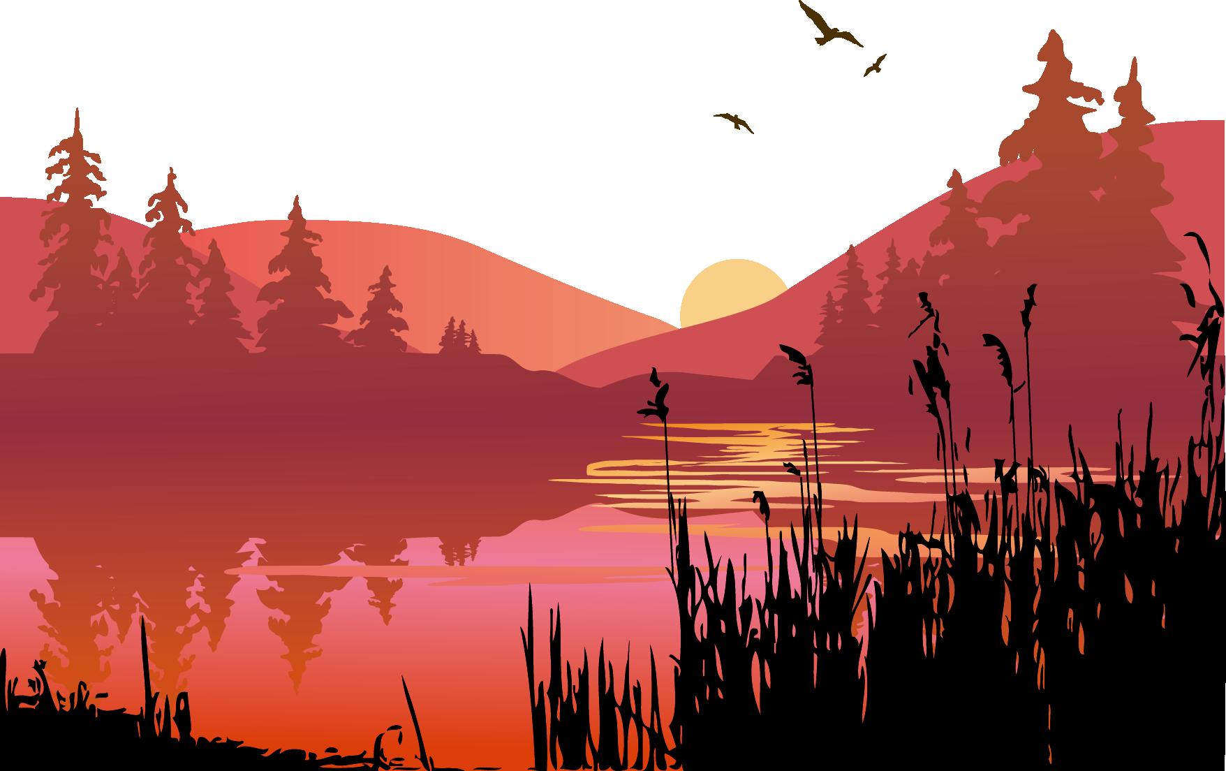 jpg royalty free Sunset clip art vector. Lake clipart lake landscape.