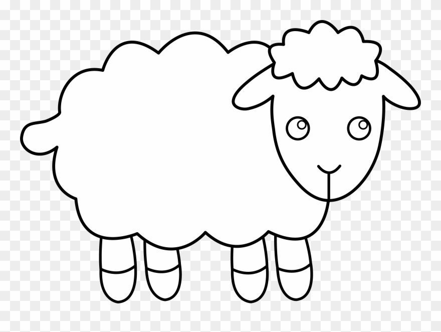 svg download Sheep clip art outline. Lamb clipart.