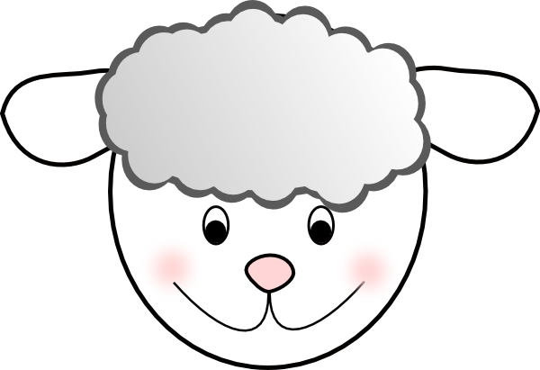 picture black and white Lamb face clipart. Smiling good sheep clip