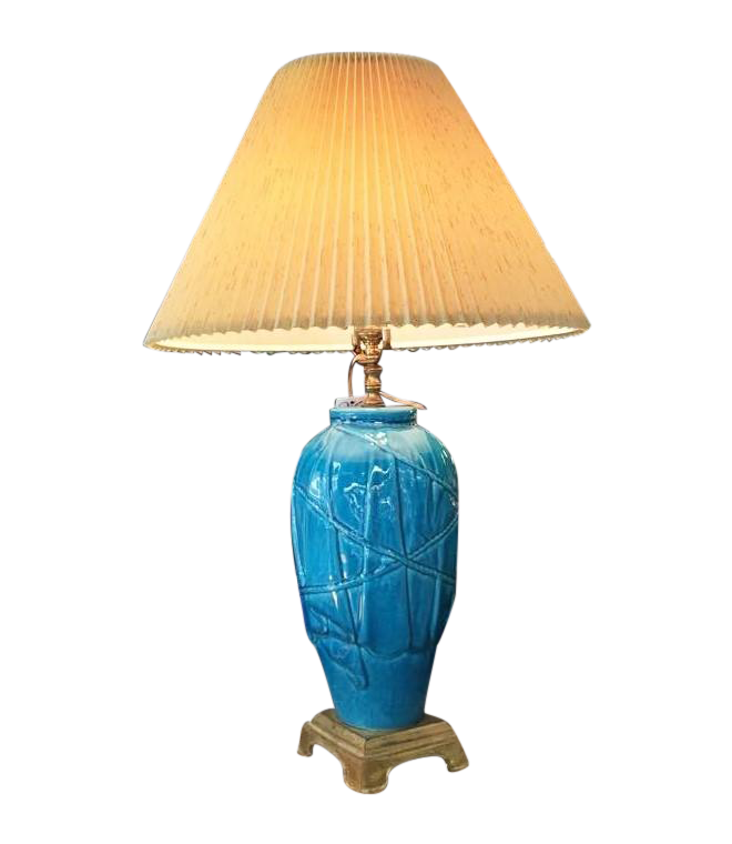 clipart transparent library Vintage Heyward House Peacock Blue Ceramic Lamp
