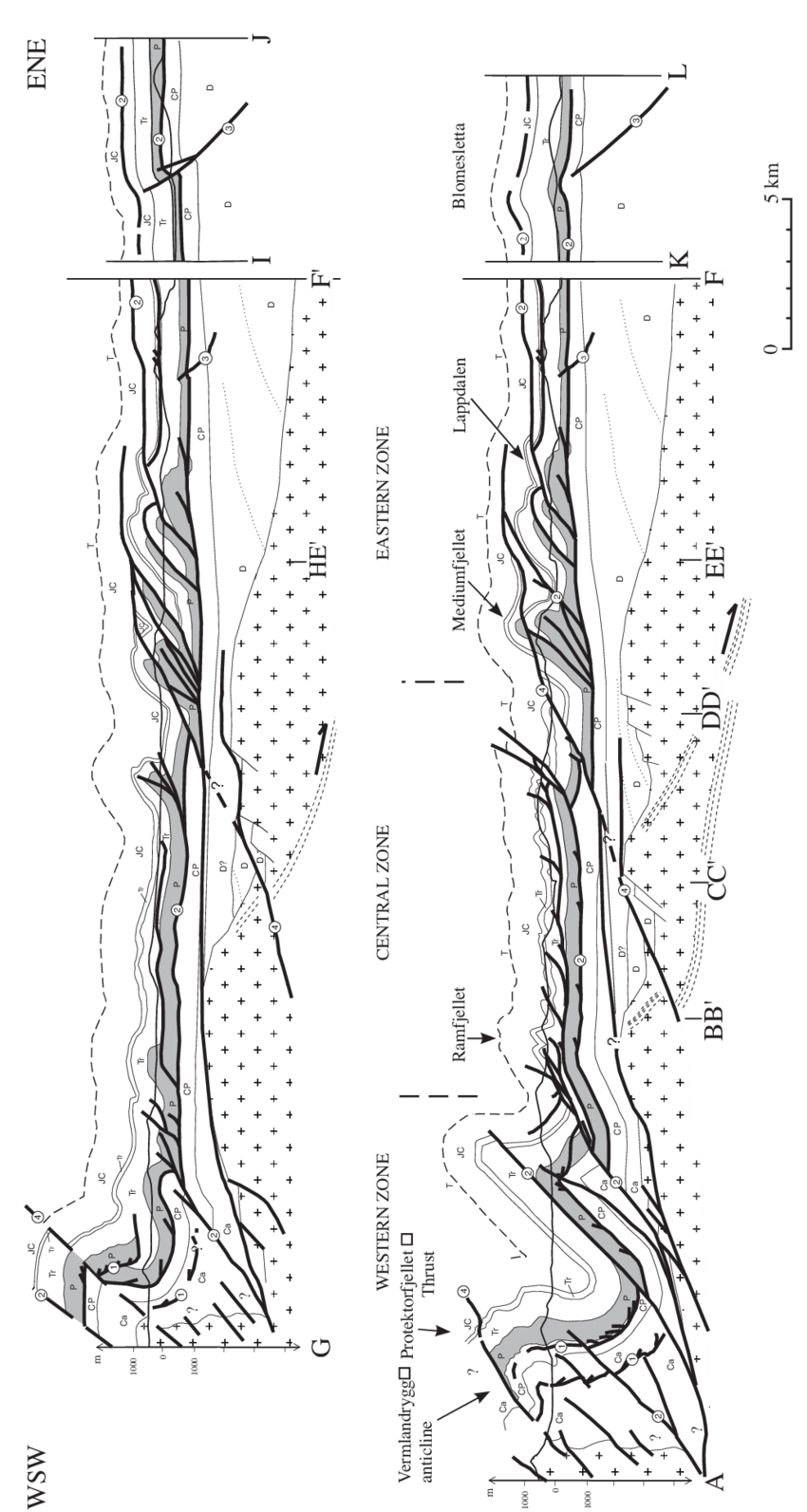 clip royalty free Geological cross sections through Oscar II Land